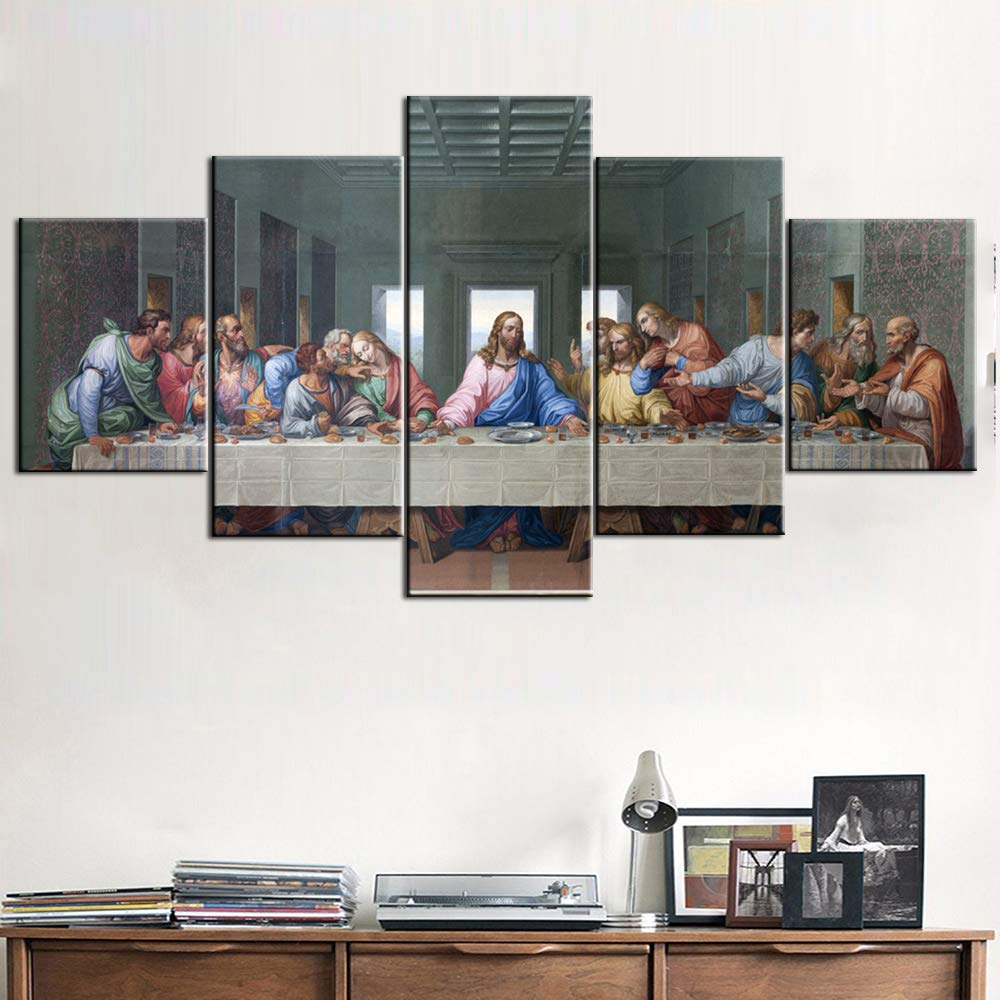 Rustic Home Decor Jesus Christ Wall Art The Last Supper Pictures 5 Panel Canvas House Decorations Living Room Holy Communion Paintings Modern Artwork Framed