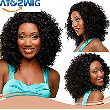 ATOZWIG Natural Black Wigs Afro Kinky Curly Synthetic Wigs for Black Women Short African American Wigs Brown Mixed Pelucas
