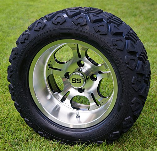 ed Golf Cart Wheels and 20x10-12 DOT All Terrain Golf Cart Tires - Set of 4 - NO LIFT REQUIRED (read description) ()