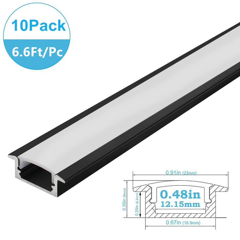 inShareplus 10 Pack 6.6FT/2M Spottiness LED Aluminum Channel System Black U-Shape LED Profile With Oyster White Cover End Caps and Mounting Clips for 3528 2835 5050 Double Row and Single LED Strip