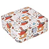 PU Leather Sewing Basket with Cute pattern - meet your girl's heart(Orange Needle & Thread)