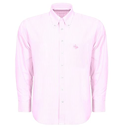 4ce6d703 Pink and White Striped Button Down Sport Shirt - Navy Logo at Amazon ...
