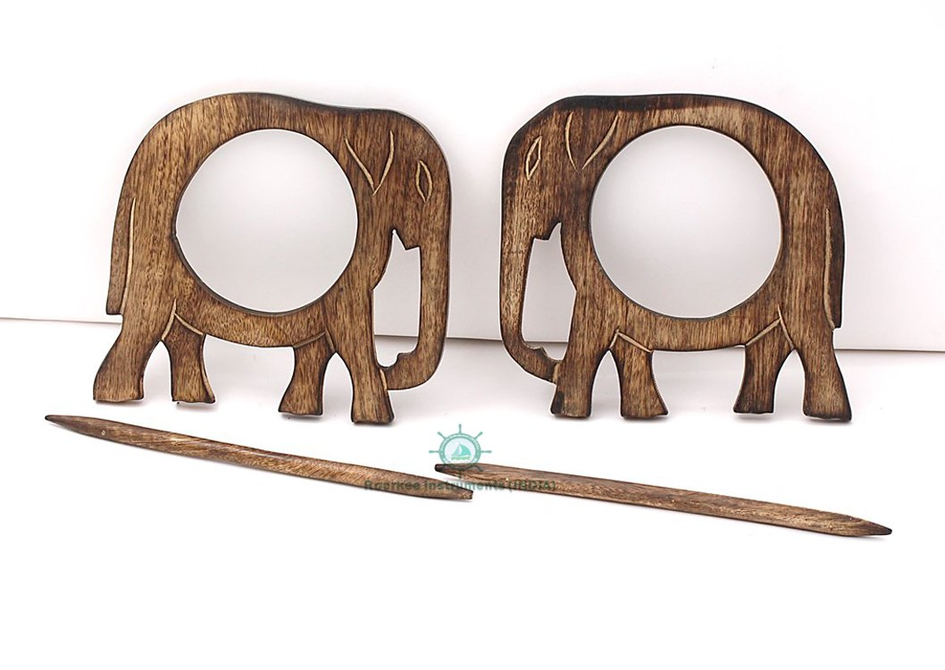 Roorkee Instruments India Housewarming Gifts Wooden Elephant Curtain Tie backs Drapery Holdbacks Rustic Set of two