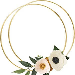 2 Pack 20 Inch Large Metal Floral Hoop Wreath Macrame Gold Hoop Rings for DIY Crafts Dream Catchers, Floral Macrame Hoop for Wedding Decor, Wall Hanging Craft,Gold