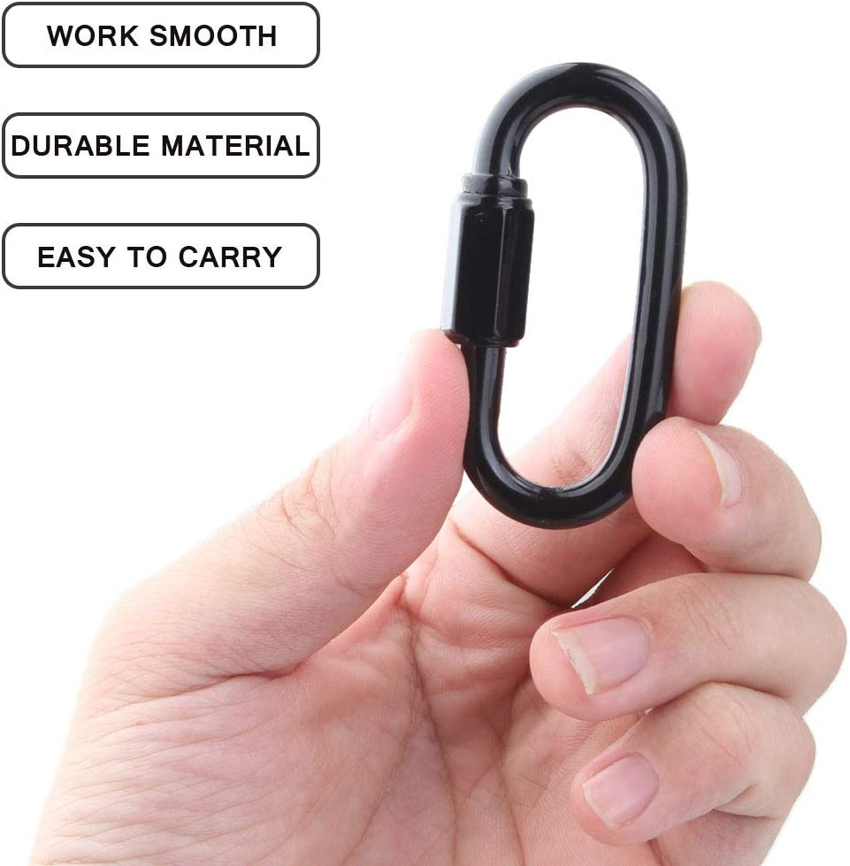 Acrux7 5 Pack Heavy Duty Locking Carabiner Clip 617Lbs Capacity Strongly Stamping M6 Stainless Steel Threaded Quick Link Hexagon Stud Connector /& Deep Thread for Heavy Duty Climbing Hook