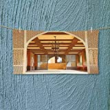 Nalahome Absorbent Towel Traditional Arabian Architecture in Doha Qatar Middle East Oriental Landmark Hotel Soft Cotton Durable L39.4 x W9.8 inch