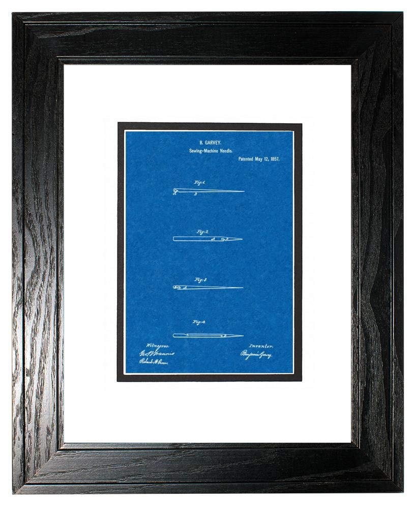 Sewing Needle Patent Art Blueprint Print in a Black Pine Wood Frame with a Double Mat (13'' x 19'') M15827 by Frame a Patent (Image #1)