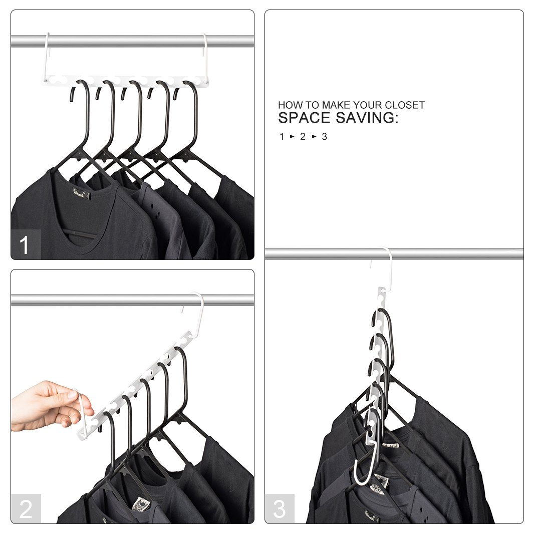 HOUSE DAY 6pcs Magic Hangers Closet Space Saving Wardrobe Clothing Hanger Oragnizer Heavy White Coating Hangers, Updated Hook Design (6) by HOUSE DAY (Image #2)