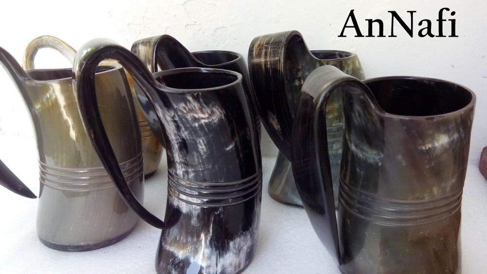 AnNafi 750ml set of 6 Norwegian Viking Drinking Horn Mug cup beer wine mead
