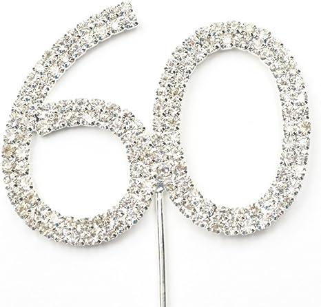 Crystal Rhinestone Cake Topper Number 60 60th Birthday Wedding Anniversary