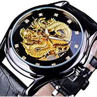 Men's Dragon Collection Forsining Limited Luxury Carved Dial Golden Mechanical Waterproof Wrist Watch (Black)