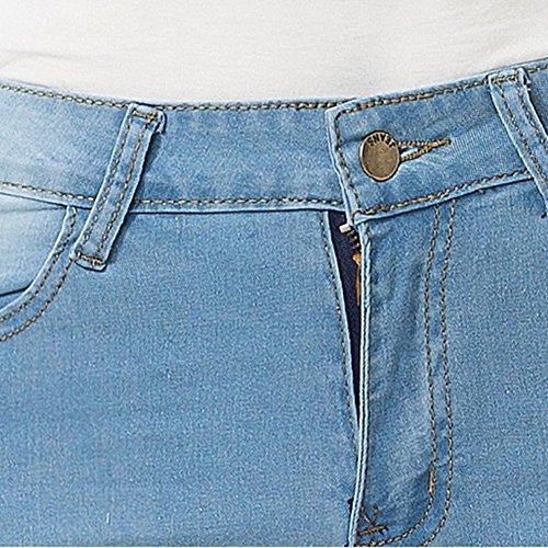 Lunghi Matita Pantaloni Donna Alta À Zhuikuna Skinny Azzurro Denim Elastico Vita Jeans Leggings In Tx6wRS