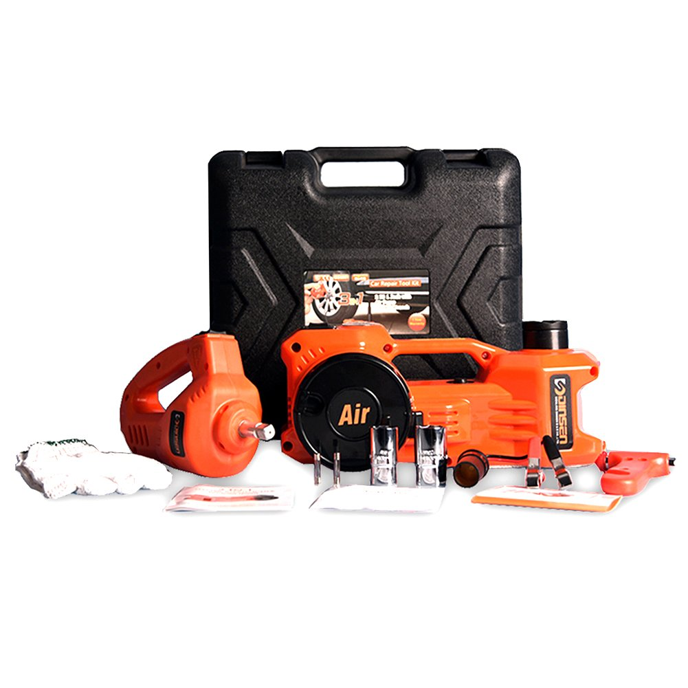 12V DC 1 Ton Electric Hydraulic Floor Jack Set with Impact Wrench For Car Use (6.1-17.1 inch, Orange) by EAMBRTE (Image #2)