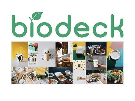 Biodeck - Plato redondo biodegradable (biodegradable, 22 cm, 50 ...