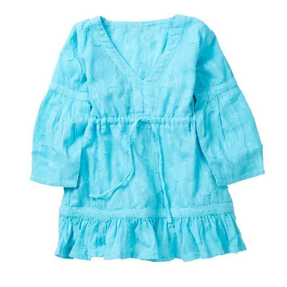 Azul Little Girls Turquoise Ruffle Hem Long Sleeve Shanti Cover Up Tunic 2-6