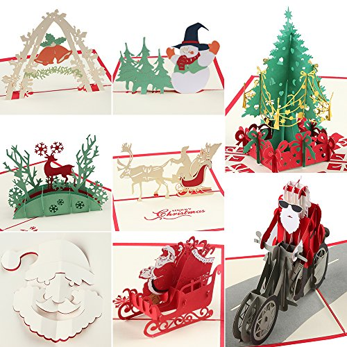 Coohom 3D Pop Up Christmas Card with Envelope Set of 8 - Handmade Paper Craft Get Well Soon Cut out Greeting Card for New Year Holiday Gift - Feature Xmas Tree,Snowman,Reindeer and Bell -