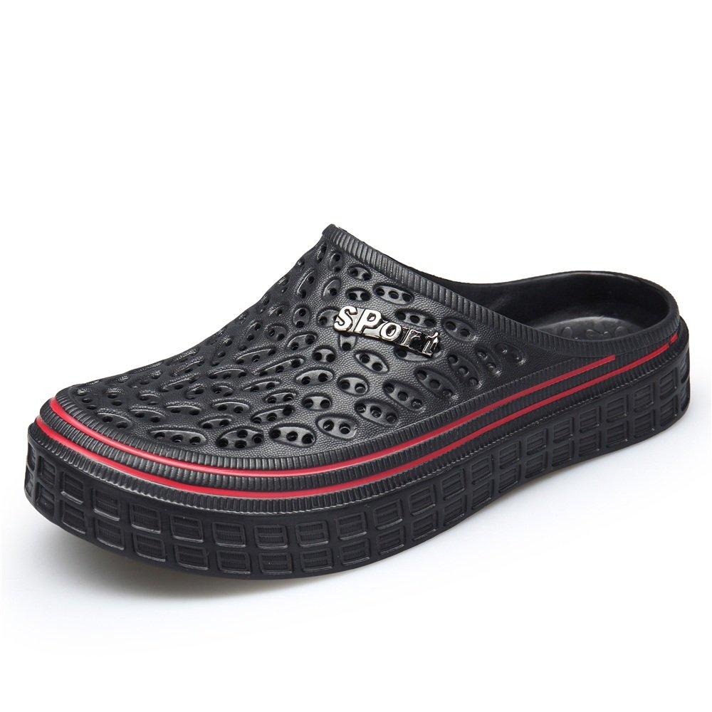 Dig dog bone Women and Men's Mules Heel Hollow Vamp Flat Heel Mules Slip On Slipper Sandals B07F72W7TL 8 D(M) US|Black 8a5f8c