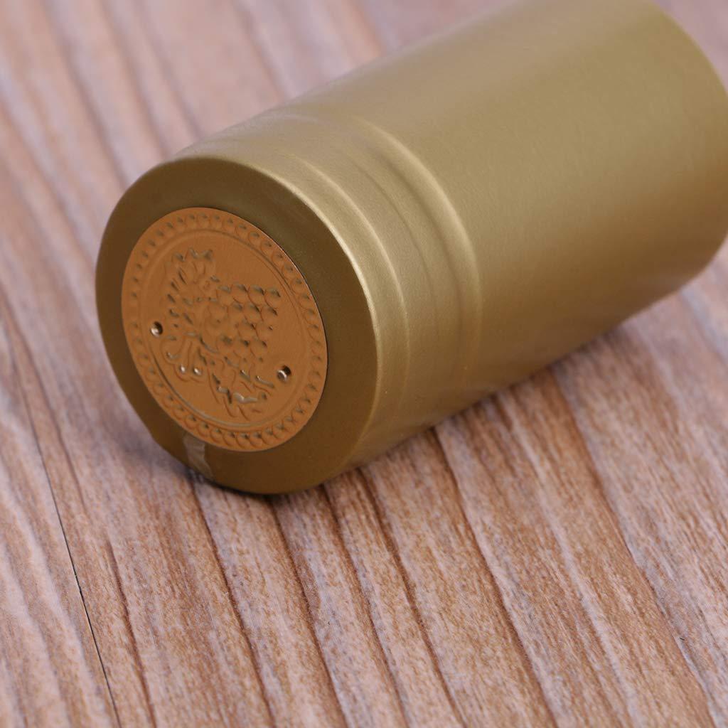 ZOOMY 10 Piezas Botella de Vino Cápsulas termocontráctiles Homebrew Tapa Superior Suelta Línea Peeling Easy - Dorado: Amazon.es: Hogar