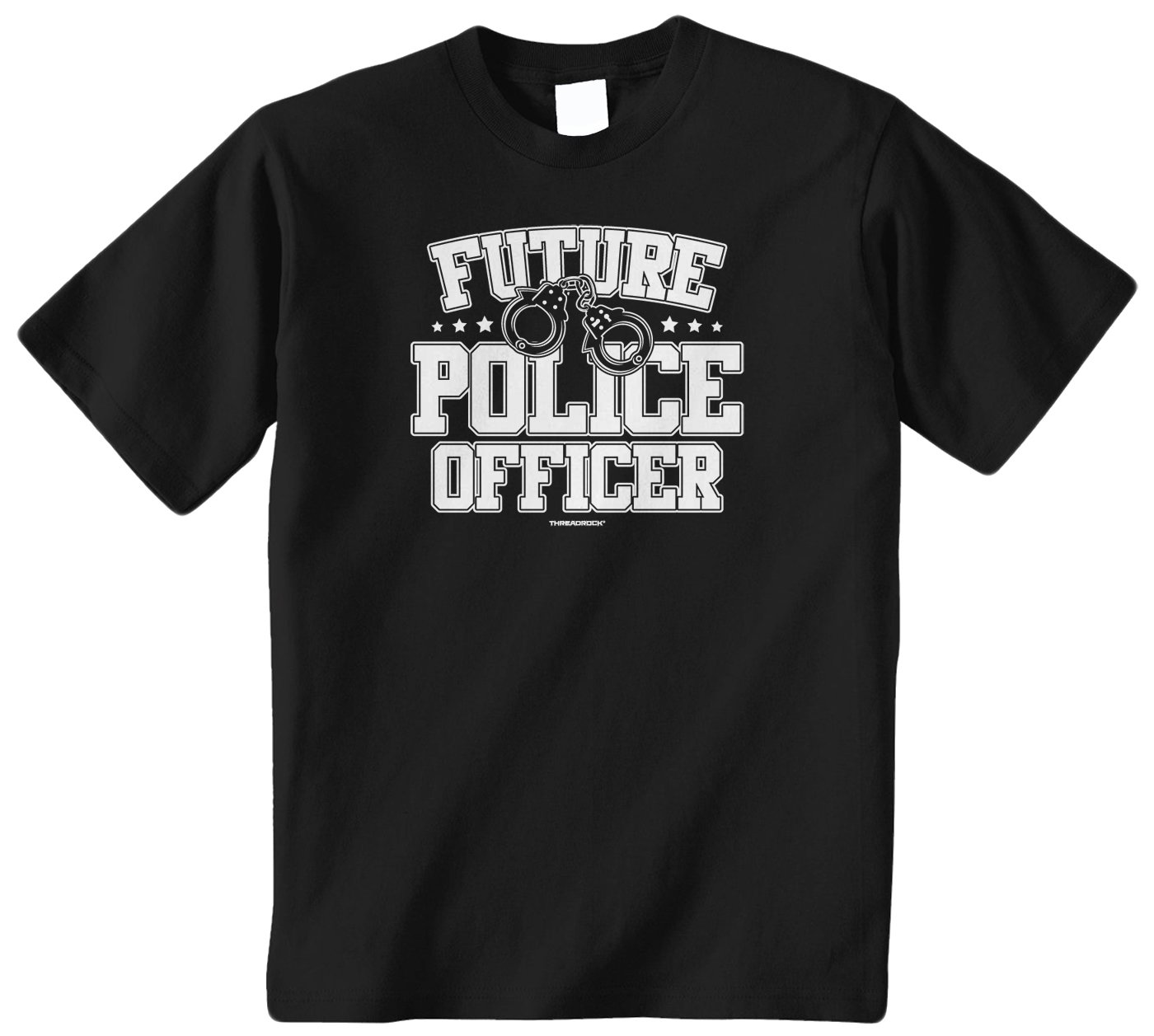 Threadrock Big Boys' Future Police Officer Youth T-Shirt S Black