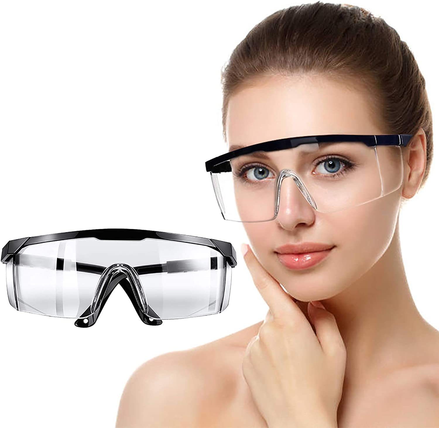 Lightweight Dustproof 3 Pcs Safety Goggles Anti-Fog Eye Protection Glasses,Over