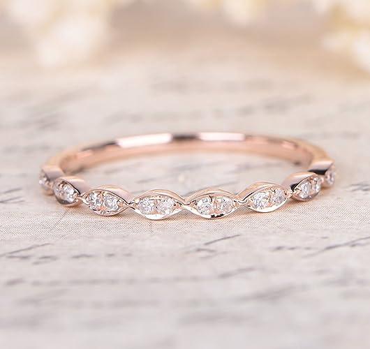 Rose Gold Wedding Band.Pave Diamond Wedding Band Half Eternity Anniversary Ring 14k Rose Gold