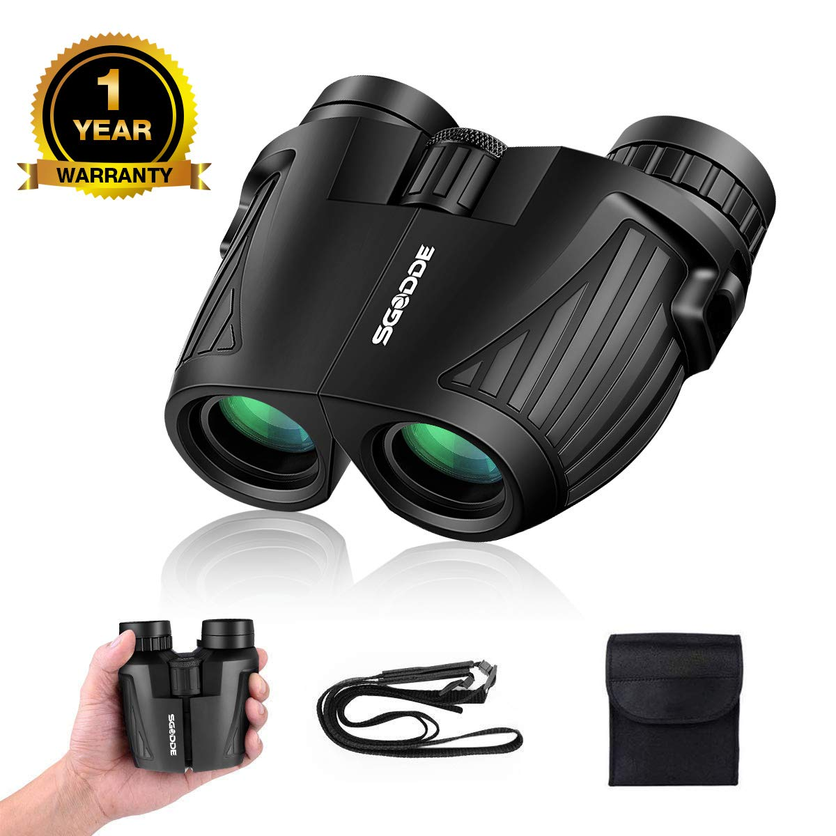 12x25 Compact Binoculars SGODDE Binoculars for Adults with Low Light Night Vision, Folding High Power Waterproof Binocular Easy Focus for Outdoor Hunting, Bird Watching,Traveling, Concert, Sport Games by SGODDE