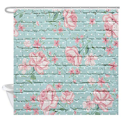 NYMB Rose Flowers Shower Curtain, Pink Rose on Turquoise Brick Wall Curtain Rustic Nature Garden, Fabric Floral Bathroom Curtain12PCS Hooks, 69X70IN (Turquoise And Pink Shower Curtain)