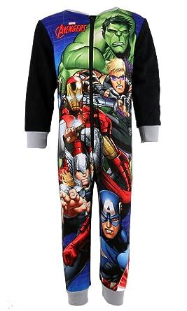 Niños Oficial Marvel de Los Vengadores de forro polar Mono tamaños 2 3 4 5 6 7 8 años para niño pijama Hulk Iron Man de Capitán América Thor negro negro 3-4 ...