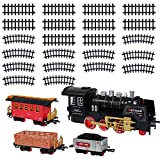 disney motorized train - Christmas Electric Toy Train Set - Classic Locomotive Model Train Sets For Under The Tree For All Children Adults Family - Set With Light And Realistic Sounds - 22' Track - Holiday Christmas Tree Gift