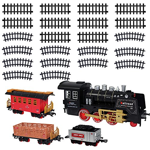 Christmas Electric Toy Train Set - Classic Locomotive Model Train Sets For Under The Tree For All Children Adults Family - Set With Light And Realistic Sounds - 22' Track - Holiday Christmas Tree Gift (Xmas Train)