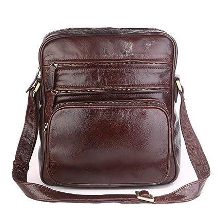 AFCITY maletín para Ordenador portátil Carteras de Cuero Genuino para Hombres Bolsos de Hombro de la