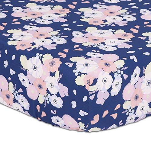 Navy Blue, Coral Pink, Pale Yellow Floral Print Fitted Crib Sheet - 100% Cotton Baby Girl Garden Flower Designs Nursery and Toddler ()