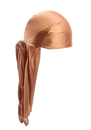 Unisex Men Women Turban Hat Doo Durag Headwear Headband Soft Silk Pirate Cap