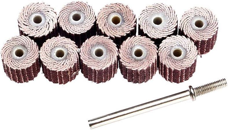 1pc Mandrin 10pcs Flap Roue Brosses Emery Tissu Abrasif Papier de Broyage de Meulage pour Disque /À Bois 10mm 120#