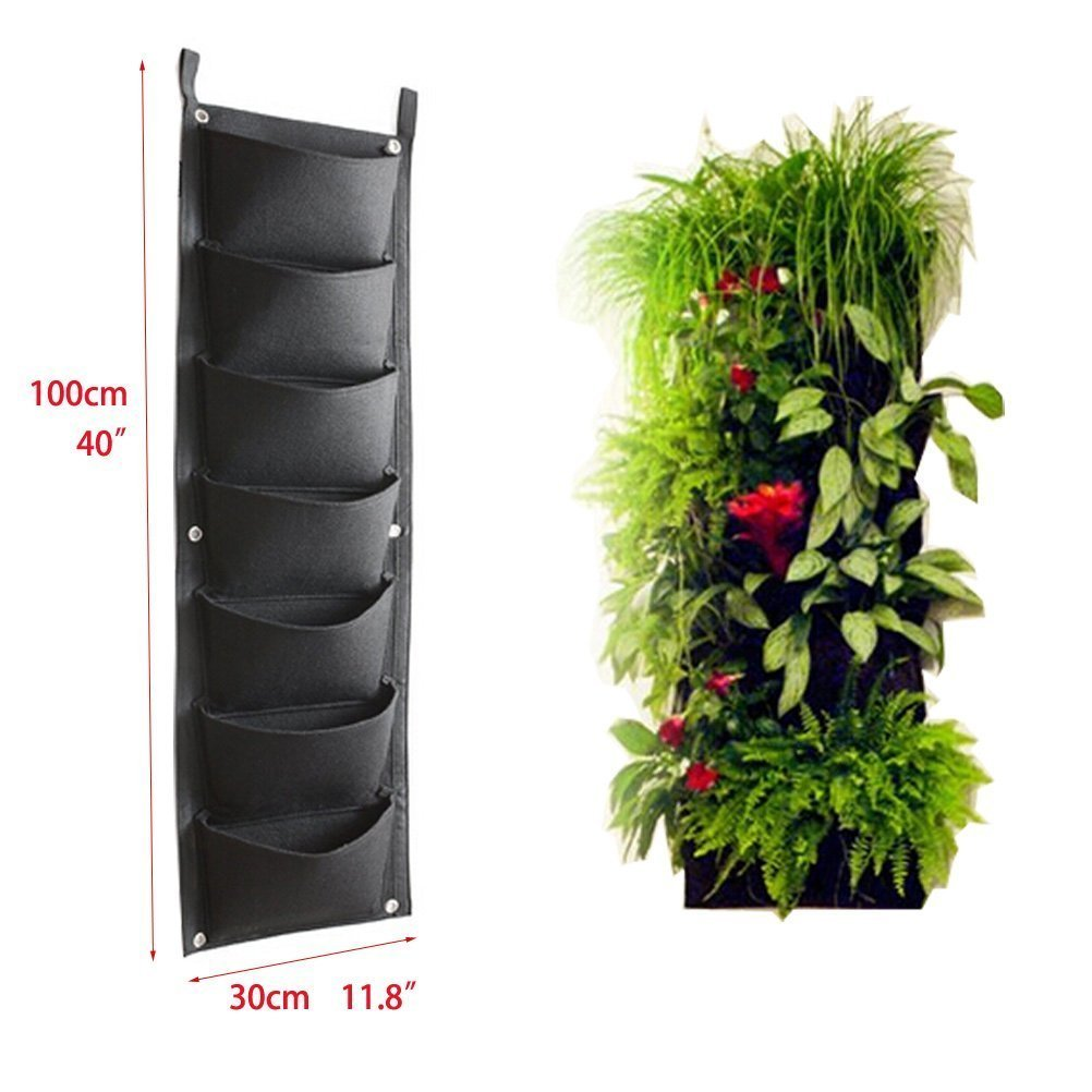 Amgate 4 Pockets Wall Hanging Planter Bags Wall-mounted Growing Bags for Indoor//outdoor