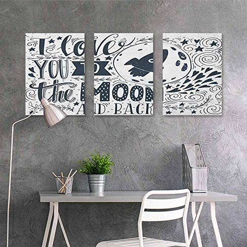 HOMEDD Canvas Print Artwork Sticker,I Love You Celestial Love My Other Half Floating Never Let Go Valentines Concept,for Home Decoration Wall Decor 3 Panels,24x47inchx3pcs Blue Grey White