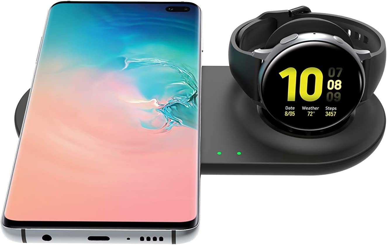 SPGUARD Cargador Certificado Qi Compatible con Samsung Galaxy Watch Cargador Inalámbrico para Galaxy S20 Ultra Galaxy Z Flip Galaxy Note10+, S10, S9, Samsung Galaxy Watch Active 2 Active, Galaxy Buds+