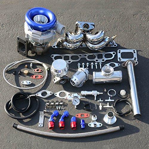 For Nissan 240SX SR20 Enigne Swap 9pcs T04E Turbo T3 Manifold Upgrade Installation ()