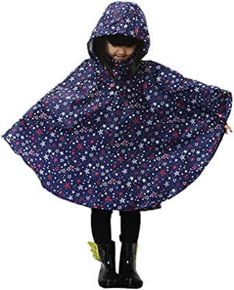 LOSORN ZPY Kid Toddler Girls Raincoat Stars Poncho Waterproof Hooded Rainwear