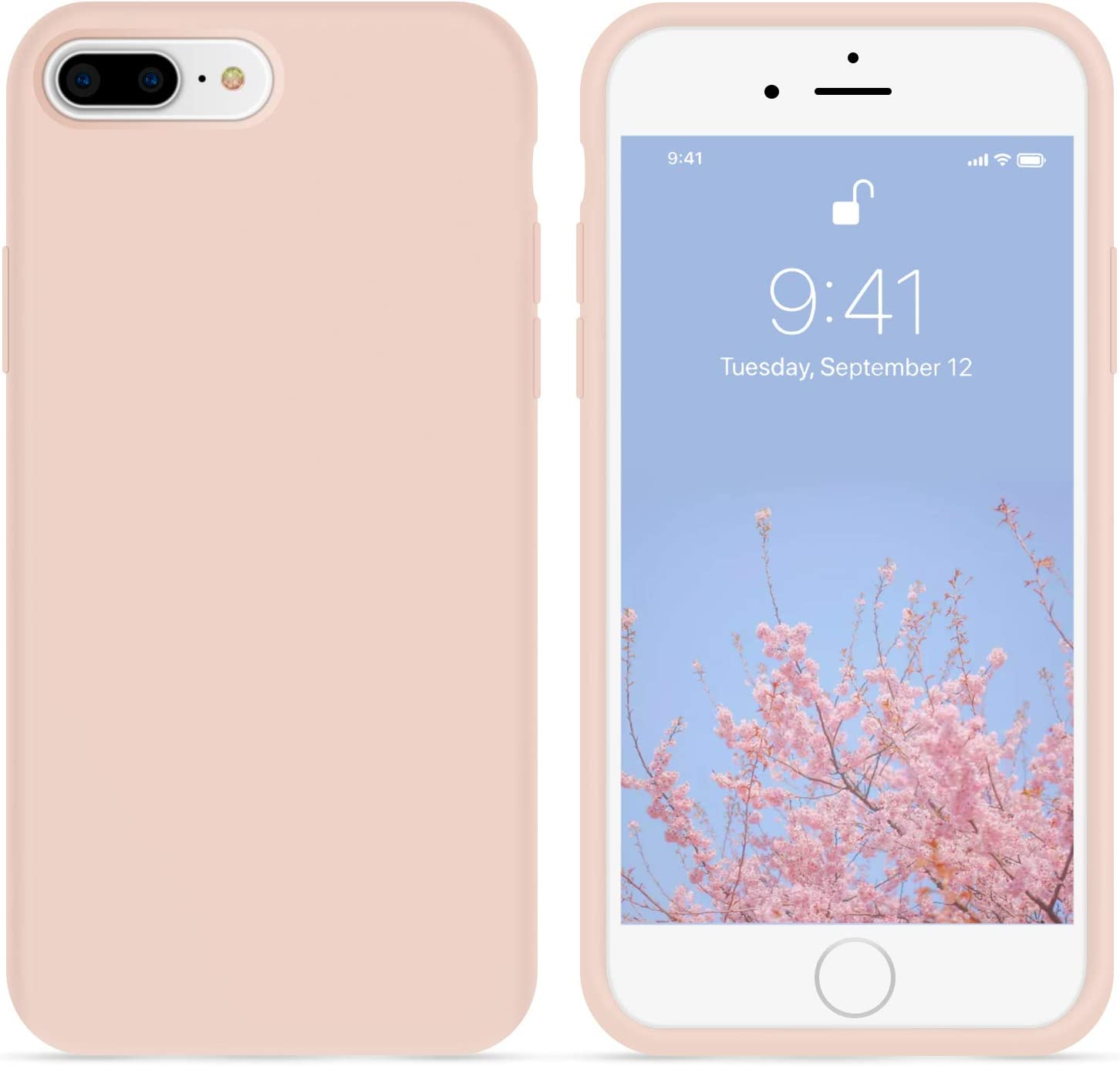 OTOFLY iPhone 8 Plus Case,iPhone 7 Plus Case,[Silky and Soft Touch Series] Premium Soft Silicone Rubber Full-Body Protective Bumper Case Compatible with iPhone 7/8 Plus (Pink Sand)