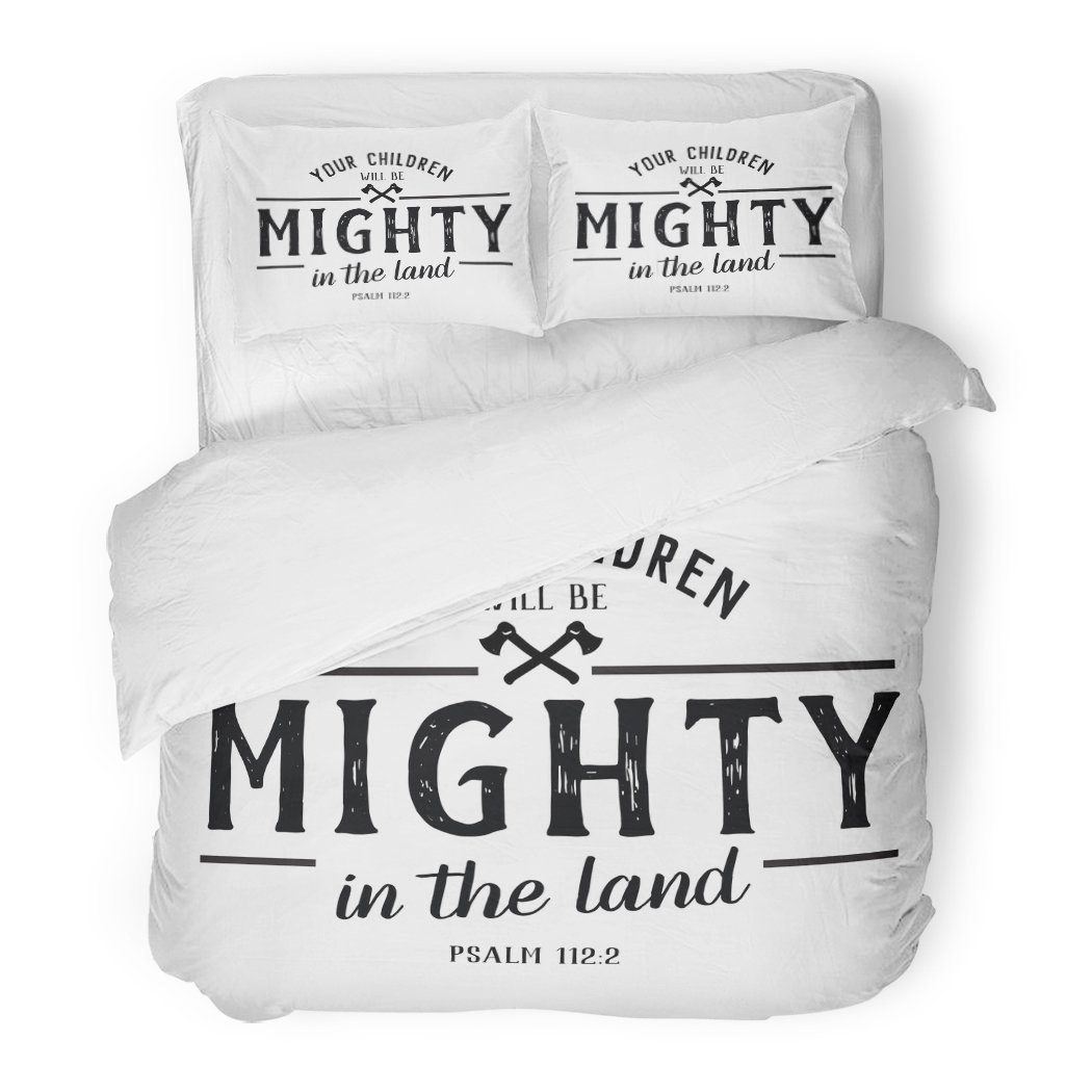 SanChic Duvet Cover Set Jesus Your Children Will Be Mighty in the Land Bible Verse Psalms Design Christian Decorative Bedding Set with 2 Pillow Shams Full/Queen Size