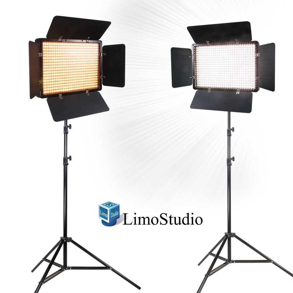LimoStudio 2 Sets of LED Barn Door Light Panel with Light Stand Tripod, Dimmable Color Temperature Control by Color Filter Gel, Continuous Light Kit, AC Power Cord, AGG1684V3 by LimoStudio