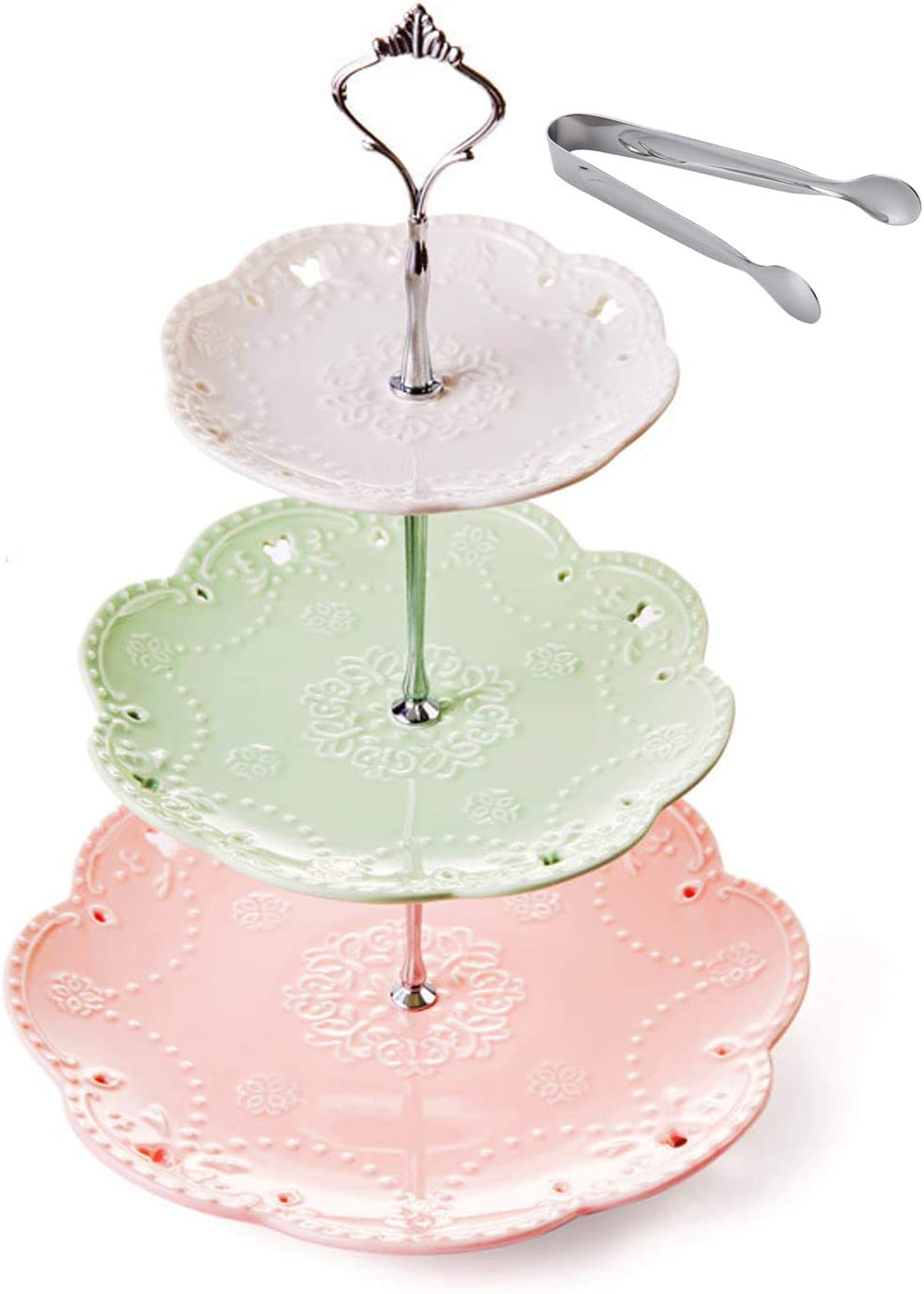 Jusalpha 3-tier Ceramic Cake Stand-Dessert Stand-Cupcake Stand-Tea Party Serving Platter, Comes In a Gift Box- Free Sugar Tong,3 Color (Silver)
