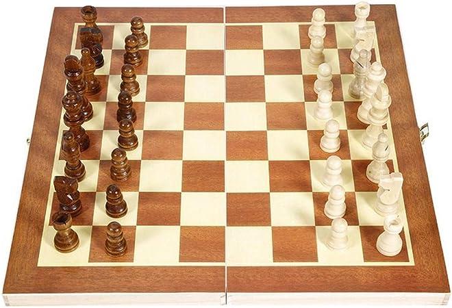 Zyj-Chess Ajedrez de Viaje Juegos de Viaje portátil Plegable de Madera Internacional de Ajedrez Juego jugadas del Juego de Mesa Divertido Juego de Mesa Piezas de ajedrez Colección Juego de ajedrez: Amazon.es: