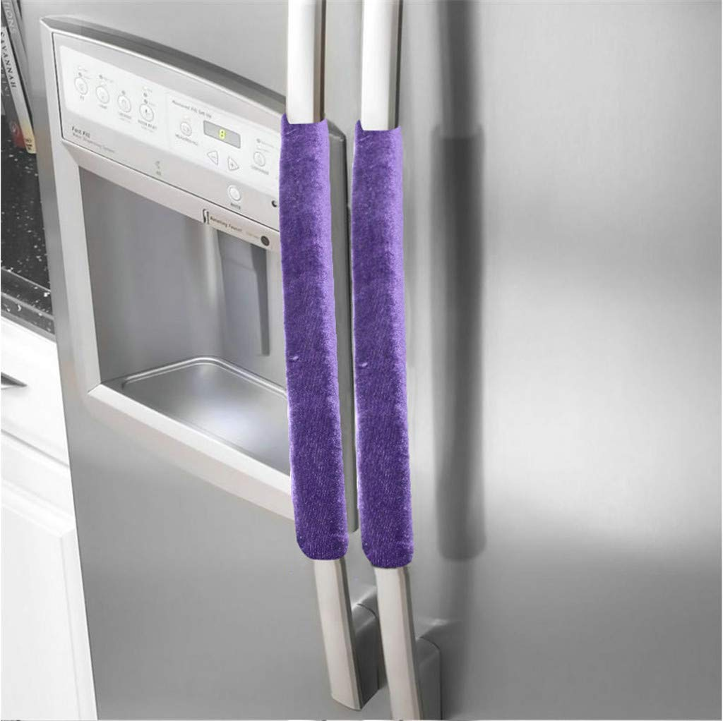 Refrigerator Door Handle Cover Kitchen Appliance Decor Handles Antiskid Protector Gloves for Fridge (Purple)