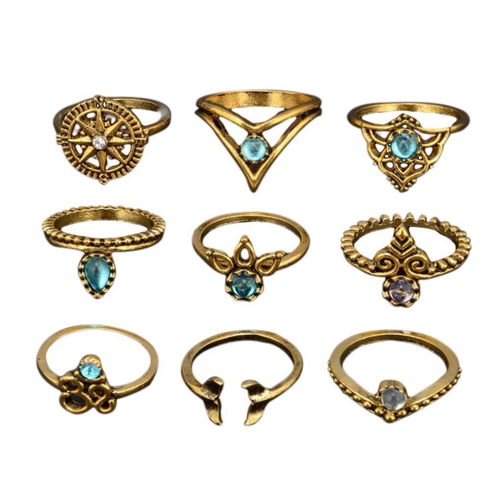 Amesii, set di anelli da donna in stile bohemien, motivo coda di sirena, foglia, goccia d'acqua, con incisioni incavate, 9pezzi goccia d' acqua 9pezzi e Lega 53 (16.9) colore: Antique Golden