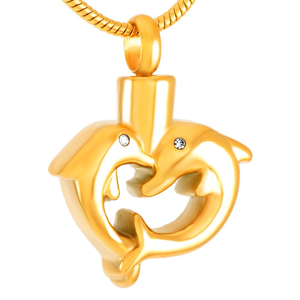 """""""Two Kiss Dolphin"""" Cremation Ashes Keepsake Memorial Urn Pendant Stainless Steel Ashes Holder Necklace for LOVE (gold) 8491"""