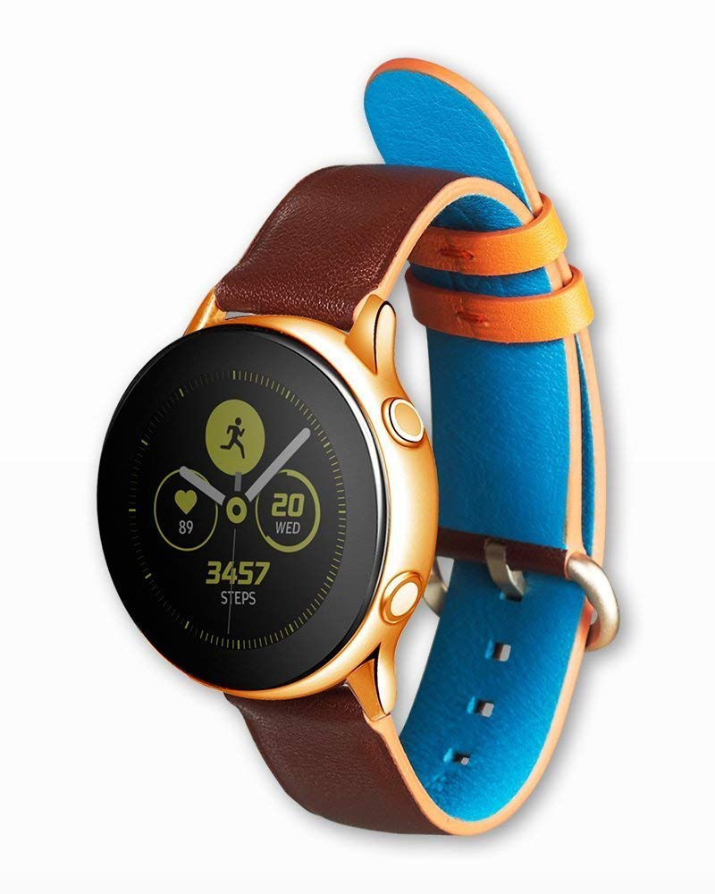 Strap Studio Made for Samsung Galaxy Watch Active Compatible Handcrafted Easy Change Band (2019): Active Leather Fashion Brown-Orange by Strap Studio