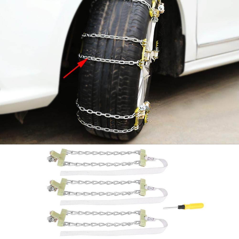 205-225mm Gorgeri 3pcs Tire Anti-skid Steel Chain Snow Mud Car Security Tyre Clip-on Chain for Car Car Truck SUV