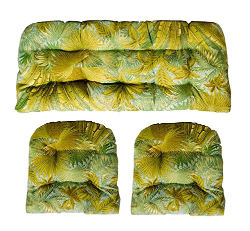 3 Piece Wicker Cushion Set - Made with Indoor / Outdoor Tommy Bahama Surf Green Palm Leaf Tropical Fabric Cushion for Wicker Loveseat Settee & 2 Matching Chair Cushions